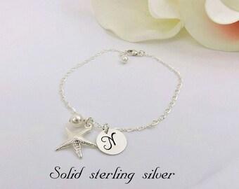 Sterling Silver Starfish Bracelet Personalized Starfish Bridesmaid Bracelet Beach Wedding Custom Starfish Bridesmaid Gift