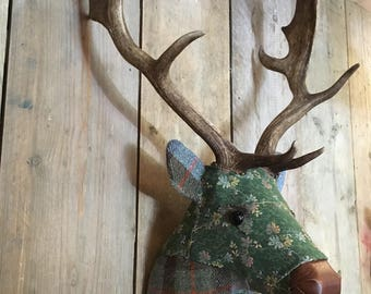 Fabric Deer Head stag buck trophy by Fabric Fallow REAL antlers faux taxidermy hand made No:69