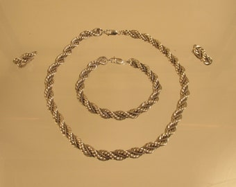 Sterling Necklace , Bracelet, Earring Set Rope With Accents  4 TOZ  @A Village Coin Bullion 4/1/9 B