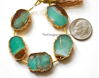 Gold Dipped Chrysoprase Rimmed Beads, Smooth Polished Chrysoprase Nuggets, 16 x 14mm