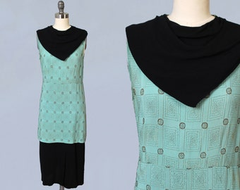1930s Dress / 30s GOLD METALLIC Embroidered Deco Dress / Celadon Green and Black