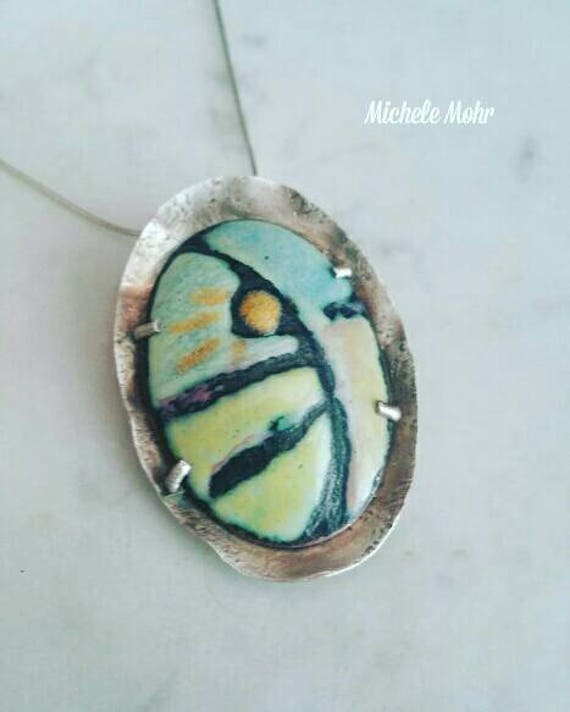 "Abstract  Enamel Pendant - copper and sterling silver 20"" necklace"