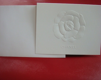 Authentic Chanel stationery -set of 5- embossed Camellia Flower & Chanel LOGO - blank note cards for Birthday Wedding thank you Mother's Day