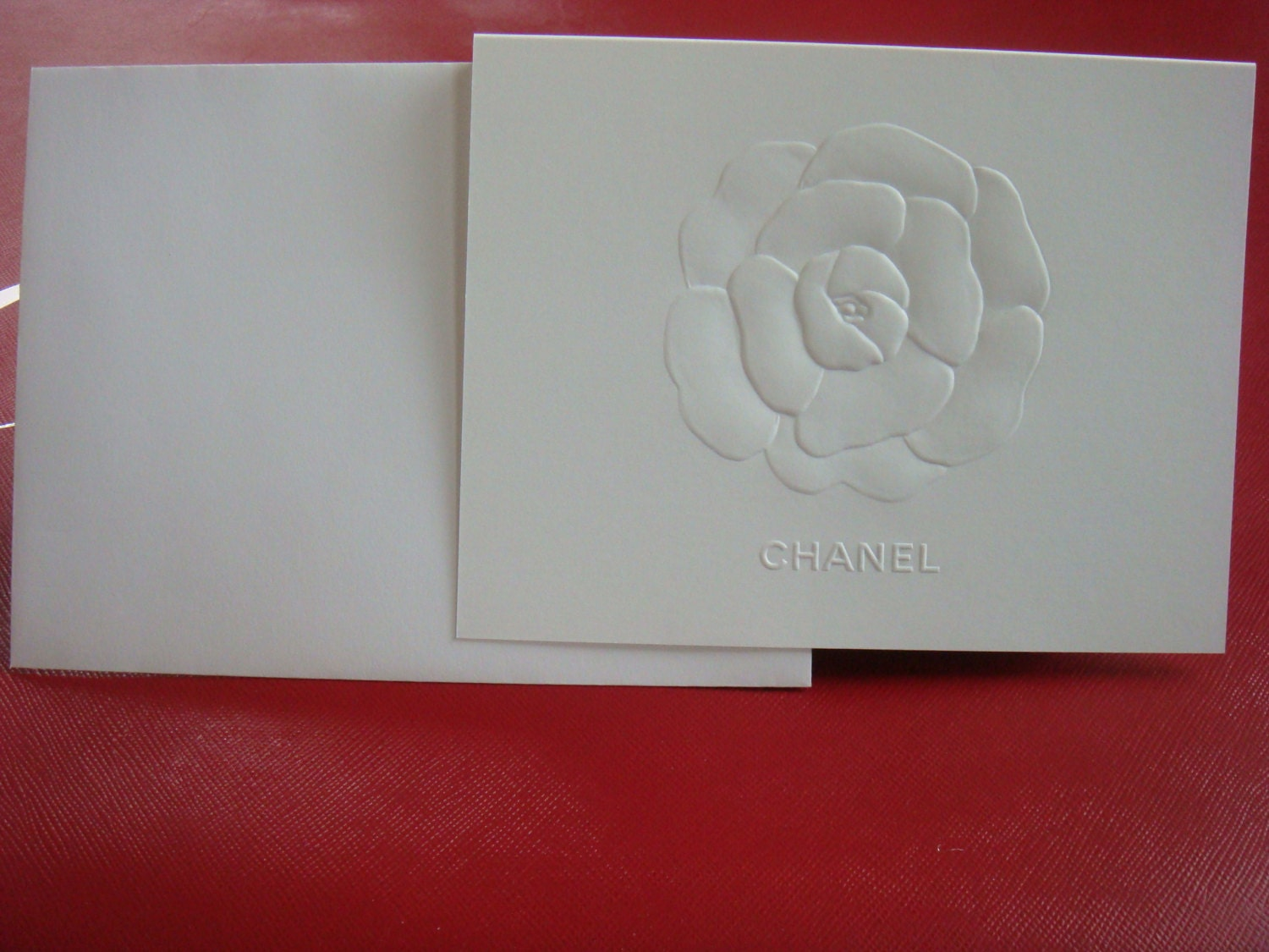 Authentic Chanel stationery set of 5 embossed Camellia