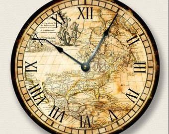 World map clock etsy vintage old map north america wall clock western hemisphere antique old world large 105 wall clock round wall clock gumiabroncs Images