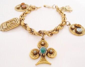 Charm Bracelet Reinad Heraldic Jeweled Rhinestones 1950's