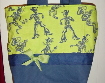 Lime & Blue Skeleton Skulls SKA Gothic Goth Fantasy BAG Purse Tote BAG or Diaperbag