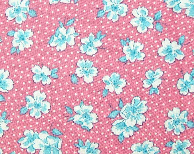 1930's  vintage inspired cotton fabric - Wood Rose TT5717 Pink - Sweet Pea by Karen Snyder for Timeless Treasures - select length