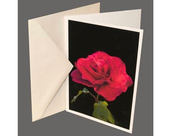 Red Rose Greeting Card With the Envelope