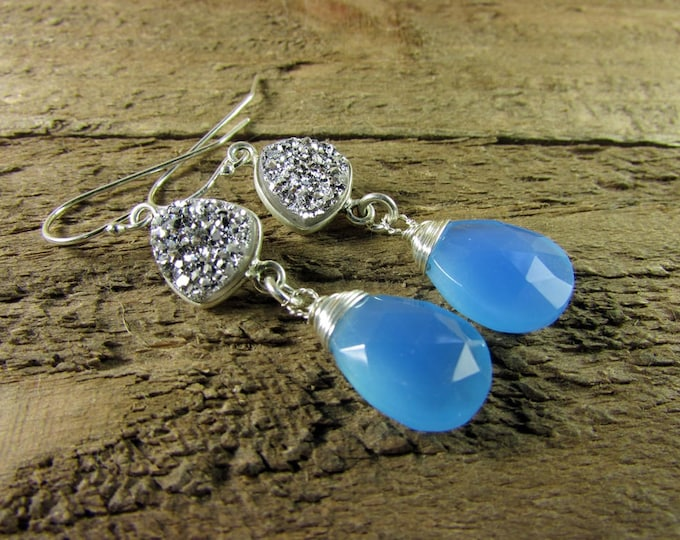 Chalcedony & Druzy Earrings, Blue and Silver Earrings, Baby Blue Earrings