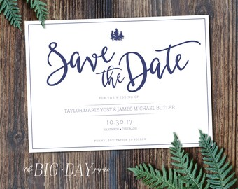 Printable Rustic Pine Tree Save The Date | DIGITAL FILE | Customized Digital Printable Rustic Outdoors Woodland Wedding Save The Date