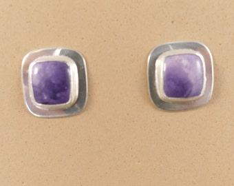 Opal Earrings, Purple Opal Earrings, Sterling Silver Earrings, Silver Earrings