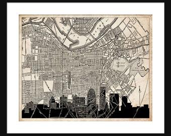 Louisville Map - Louisville Skyline - Print Poster - Vintage - Grunge