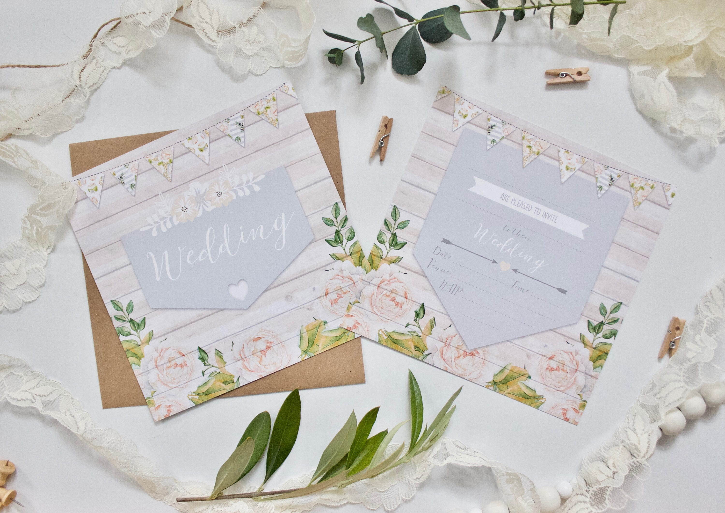PRINTED - Non-Personalised Rustic Wedding Invitations Invites with ...