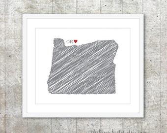 State of Oregon Art Print - Custom State Love Poster - Slate Grey Red Heart - Modern Wall Art