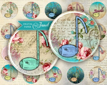 Musica - circles image - digital collage sheet - 1 x 1 inch - Printable Download
