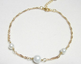 Glass pearls on delicate gold plated twisted curb chain anklet, pearl anklet, summer jewelry,beach look