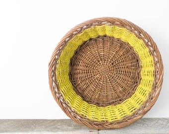 Modern Yellow Basket - Bright Sunshine Yellow Decor - Painted Basket