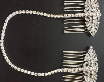 Bridal hair chain , forehead band , 1920s headpiece , Bridal head chain - hair chain - bridal hair chain