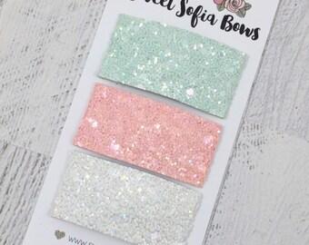 Snap Clip Set, 3 Clip Set, Glitter Clip,  Spring Hair Clips, Pastel Glitter Clip, Hair Clips, Baby Hair Clip, Toddler Hair Clip