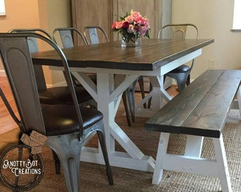 Rustic/Country style dining table and benches