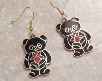 Teddy Bear Earrings Black Cloisonne Orchid Vintage V0803