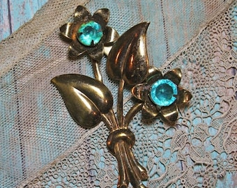 ON SALE Vintage FLOWER Brooch with Aqua Colored Stones- Floral Pin- Antique Jewelry- Gold Colored Pin