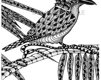 Zentangle-Inpired Kookaburra Print - Unmatted
