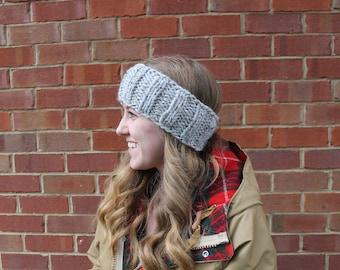 Knitted Headband, Chunky Gray Ear Warmer, Winter Accessories