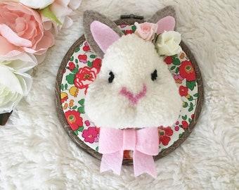 Handmade Pom Pom Bunny Rabbit in Frame. Animal Pet Decoration.
