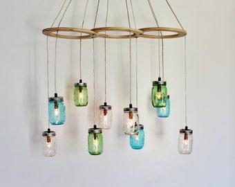 Mason Jar Chandelier, Large Hanging Chandelier, Sea Glass Kitchen Island Dining Table Lighting, Handcrafted Modern BootsNGus Lights & Decor