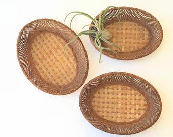 Woven Rattan Wall Hanging Basket Set of 3 / Wicker Wall Basket Set of 3 / Wall Basket Set / Nesting Baskets / Rattan Basket / Wicker Basket