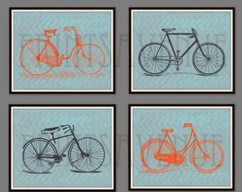 BIKE Art Prints, BICYCLE Wall Art, BICYCLE Baby Bedding Art, Bike Wall Decor, Wall Decor Set, 8x10