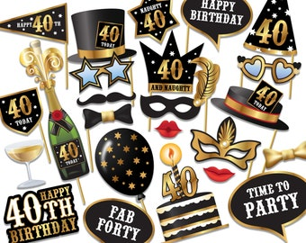 40th birthday Photo Booth props - Instant Download printable PDF. Fortieth birthday party Photo Booth supplies. Forty Today - 0154