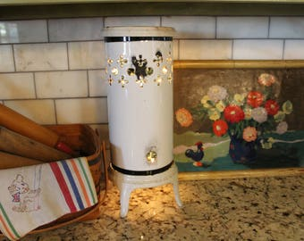 Farmhouse Chippy Vintage Enamel Porcelain Space Heater Filled with Twinkle Lights