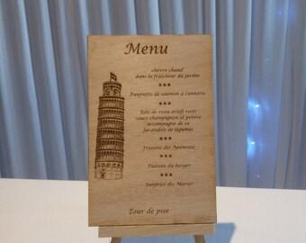 Engraved on rustic wood menu