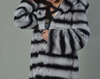 Luxury gift/  Rex Fur Coat Hooded Mid Hip Length with hood/ Wedding,or anniversary present/ Hooded