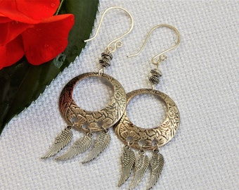 Silver Circle Hoop Earrings with Wing Charms (E13)