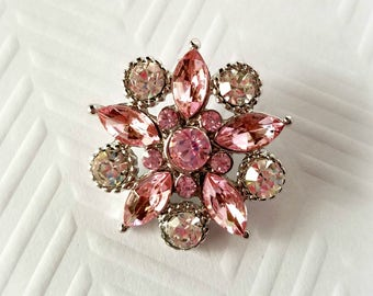 Pink and Silver Rhinestone Flat Backs. Metal Rhinestone Flat Back. No Shank.  25 mm. Qty: 1