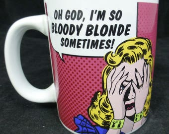 Oh God, I'm So Bloody Blonde Sometimes! - Pink Retro Mug in Presentation Box – Roy Lichtenstein's Pop Art style - Half Moon Bay