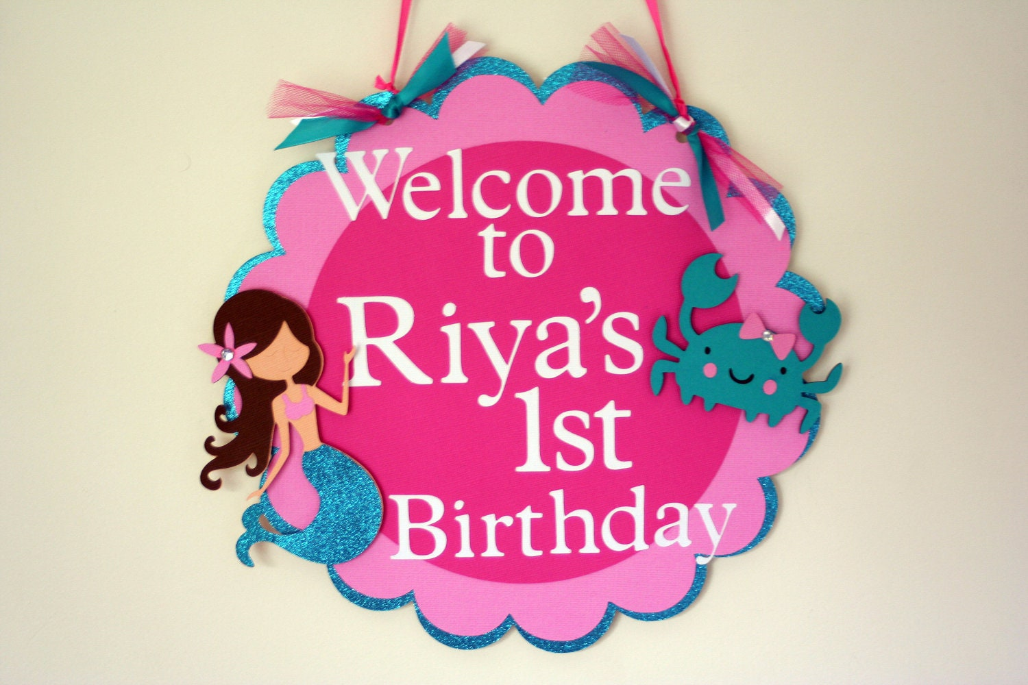 Glittery Mermaid Door Sign Birthday Wall Decor