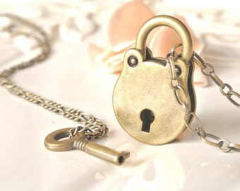 Antique Brass Round Key and lock Necklace. Padlock Pendant Necklace. Usable