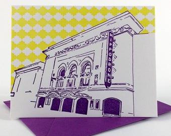 Baltimore Letterpress Card   Hippodrome Theatre   purple & yellow single blank card with envelope