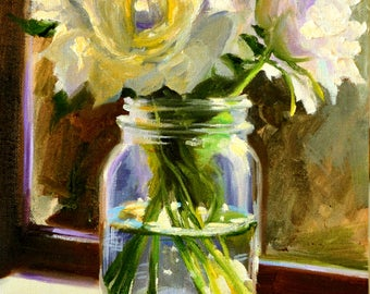 Art Print of WHITE ROSES in a MASON jar, mason jar, purple and yellow, Classic still life, gift for mom, gift for her, Christmas gift
