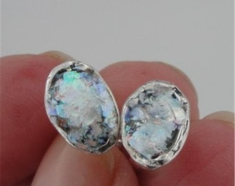 Antique, Elegant 925 Sterling silver Roman Glass oval stud Earrings, great for gift ! (AS 43)