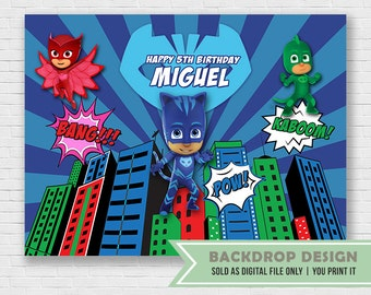 Catboy PJ Masks Birthday Banner Backdrop//Digital File Only // NOT SOLD as printed backdrop,You Print it