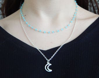 Double necklace with moon shape Pendant
