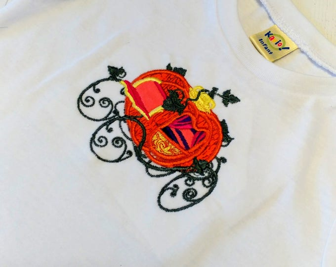 Fall pumpkin carriage in training embroidered t shirt-  Autumn tops for infants and toddlers