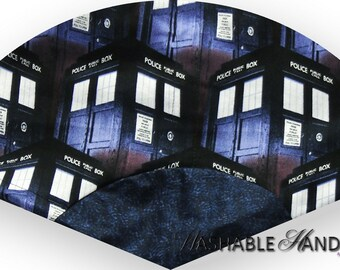 Washable Hand Fan Traditional Doctor Who TARDIS Blue Police Box
