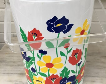 vintage Stotter floral ice bucket, summer picnic, wine bucket